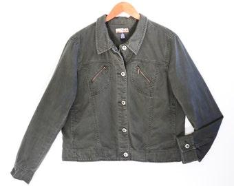 90's KHAKI green military jacket // vintage cotton grunge jacket // button up UTILITY jacket // women's size XL