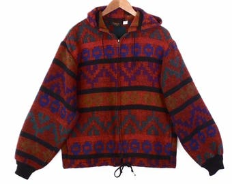 90's SOUTHWEST hoodie jacket // vintage native blanket // red woven hooded // size S