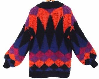 80's vintage TRIBAL cocoon sweater // fuzzy knit boucle sweater // long cardigan sweater // geometric // women's size S M