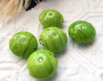 Sale.......Stunning Lime Green Swirl Lampwork Glass Lentil Beads with Swarovski Crystals