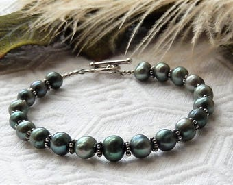 One of a Kind Handcrafted Sterling Silver Genuine Freshwater Green Pearl Toggle Bracelet