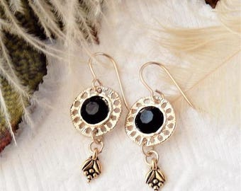 Sale......One of a Kind Gold Vermeil and Black Dangle Earrings