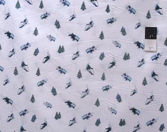 20% OFF SALE Dear Stella Skiers Blue Quilting Cotton Fabric By Yard