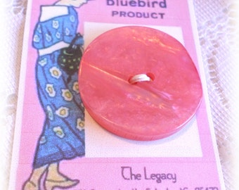 1 Big PINK Vintage Button 1 1/2 Inches