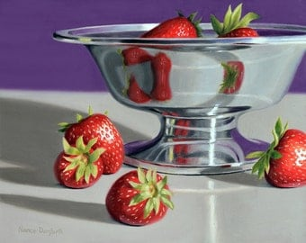SALE! Silver Bowl With Strawberries 8x10 original oil painting realistic still life by Nance Danforth