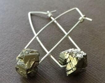 Raw Pyrite Nugget Earrings Fools Gold Dangle Earring Organic Modern Simple Earrings Modern Simple Earrings Gold Crystal Quartz Earrings