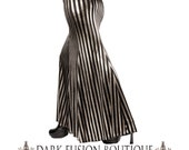 Skirt, YOUR SIZE, Mermaid, Black & Silver Stripes, Stretchy, Tribal, Fusion Bellydance, Dark Bridal, Cabaret, Goth, Cocktail, Boutique