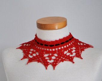 Lace crochet choker, red cotton, black suede ribbon, P499