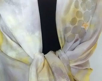 "Sarong / Wrap Hand Dyed and Painted Silk - 34 x 72"", Shibori Dyed in Yellow and Grey, Painted with Flowers"