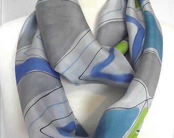Hand Painted Silk Infinity Scarf, Original Abstract Design in Blue, Turquoise, Lime & Gray with Black Graphic Lines