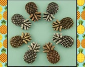 2 Hole Beads Pineapples 3T Metal Silver Copper Gold ~ TROPICAL Fruit ~ Sliders QTY 8     (SKU 514915178)