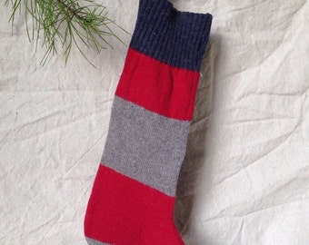 Red and Gray Striped Rustic Christmas Stocking // Farmhouse Christmas Stocking