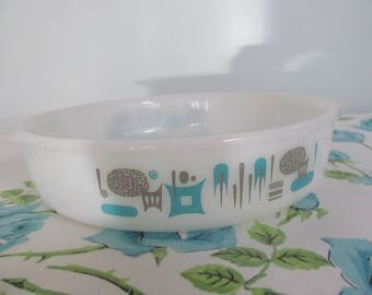 Art Deco Unmarked Milk Glass Baking Dish Casserole Mixing Aqua Gray Shabby Cottage Kitchen