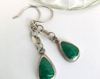 Marcasite Sterling Silver Earrings, Inlaid, Drop Earrings, Stylish, Green Gemstone