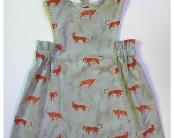 Mascot by Sunday West - button back pinafore dress in tiger : for toddlers and girls