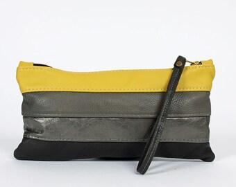 Sheena Leather Clutch Bag in April Skies Yellow Gray Purse Handbag