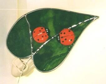 Ladybug Night Light - 5 Choices - Ladybugs on Leaf - Fused Glass Ladybug Nightlight - Stained Glass Red/Orange LadyBug Night Light