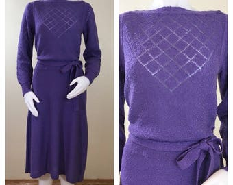 80s Just-mort 30s Style Purple Long Sleeve Nubby Knit Sweater Dress, Medium to Large, Tall