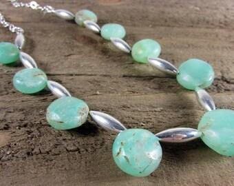 Chrysoprase & Sterling Silver Necklace, Gemstone Choker, Light Green Necklace, Boho Choker