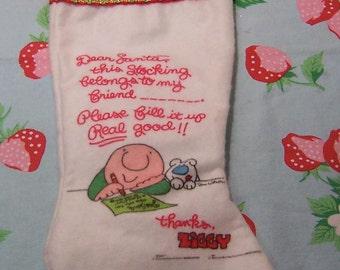 1978 ziggy fleece felt christmas stocking