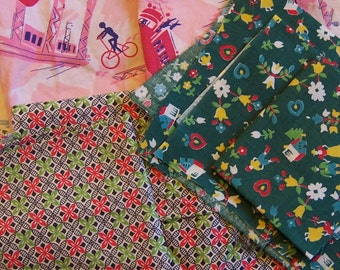 little vintage fabric pieces and scraps