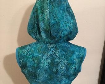 Half Price Sale - SMALL - Turquoise Batik Hoodie Bolero Shrug Jacket LoriAnn Costume Designs