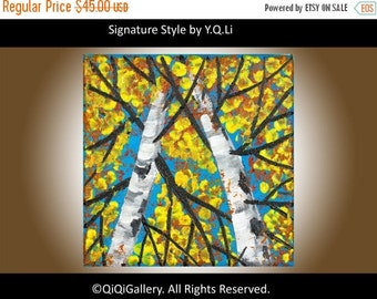"Silver Birch painting square art Small art Original artwork Palette Knife Textured painting on canvas ""Autumn Birch Trees"" by QiQiGallery"