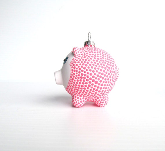 Piggy Ornament: Hand painted Glass Piggy ornament Pink and white Piggy
