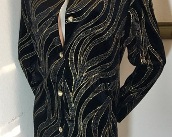 Black velvet and sequin shimmer evening jacket rhinestone buttons glitter blazer New Year's party cocktail tunic jacket