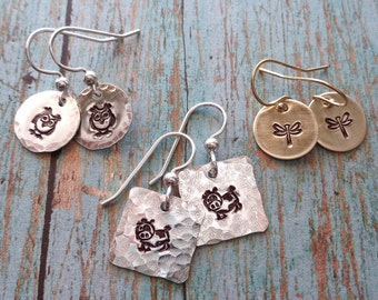 Stamped Animal Earrings - Silver Owl Cow - Gold Dragonfly Butterfly - Bird Earrings- Stamped Animal Insect Earrings Sterling Gold fill