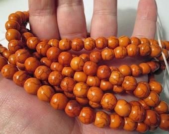 Turquoise Beads, 8mm Round Orange Imitation Dyed Turquoise, 1mm Hole, 15 Inch Strand, QTY 1 - tq491