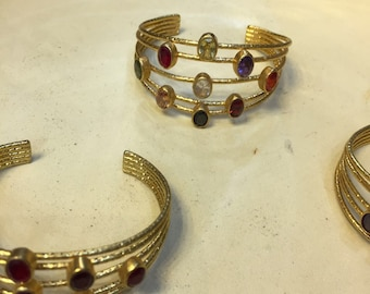 Braceket  Multi Color Gemstone Layered Cuff Style