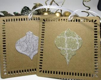 Christmas Gift Tags -  Set of 4 - Glitter Ornament - Kraft - Rustic