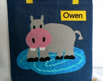 Hippo Safari Animal Tote Bag|Personalized Tote Bag|Preschool Bag|Toddler Bag|Children Book Bag|Easter Gift Bag|Kid Gift Bag|Denim Tote Bag