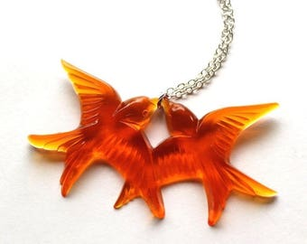 Clearance Sale Bright orange flying kissing vintage plastic swallow love birds silver necklace