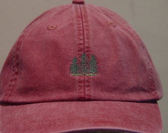 EVERGREEN PINE TREES Hat - One Embroidered Wildlife Cap - Price Embroidery Apparel - 24 Color Caps Available