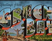 Postcard Green Bay Wisconsin Large Letter Greetings Linen Unused