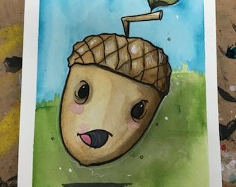 Chibi Acorn original watercolor painting