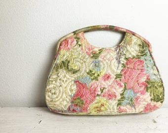 Vintage Floral Quilted Handbag
