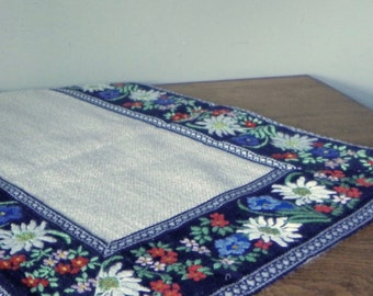 Vintage table runner open weave edged with embroidered floral edge european german marked dolan