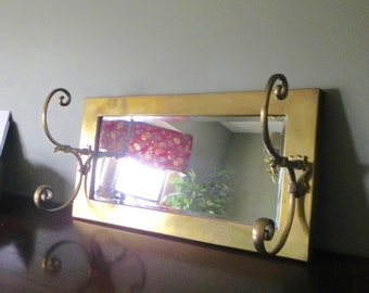 Large vintage solid brass mirror with two large coat hooks coat rack