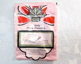 Pink Satin Pillowcase by Lady Claire New Vintage Pillow Case w Zipper Hair Protector NWT Mint NIP Unused Bed Linens 1960s 1970s Made in USA