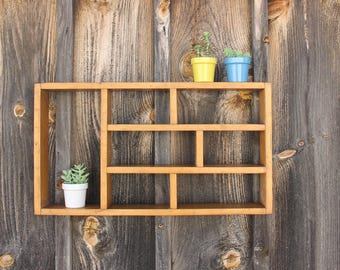 Midcentury Handmade Wooden Shelf