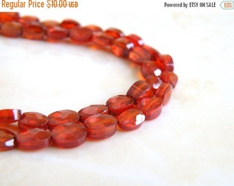 Final 51% off Sale Cubic Zirconia CZ Garnet Siam Faceted Oval Coin Briolette Center Drilled 6.5mm 1/2 Strand 15 beads