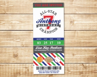 PRINTED All-Star Sports 3.667x8.5 Birthday Invitation with envelope in gray, red, blue, green, stripes w/ basketball, football, and baseball