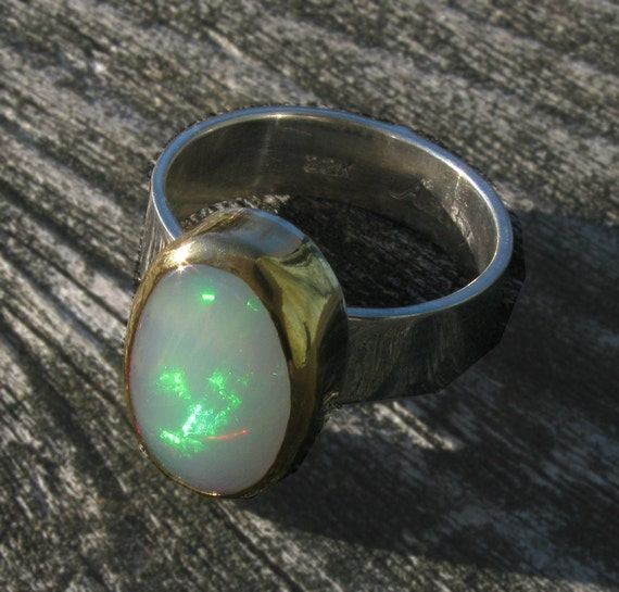 Welo Opal Ring - Sterling Silver and 22K & 24K Gold Opal ring - US size 7 1/4 - Natural Opal ring - Ethiopian Welo Opal Ring size 7.25