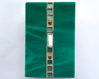 Teal Light Switch Plate, Decorative Light Swtch Covers, Dimmer Cover Plate, Stained Glass Switchplate, Glass Switch Plates, Lightswitch 8583