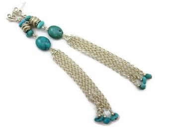 Sterling Turquoise Earrings - Long Dangle Chain Tassels, Pierced, Sterling Silver, Turquoise Jewelry