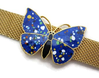 Enamel Butterly Choker Necklace - Gold Tone Mesh Costume Jewelry, Adjustable