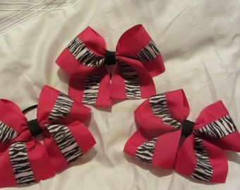 Shocking Pink and Zebra Hair Bows